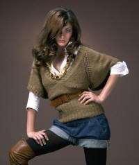 Voile frill shirt �28 Kimono tunic �32 ,Tan skinny studded belt �18, Denim belted turn-up shorts �30. Velvet opaque tights �5.